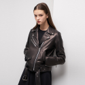 룩캐스트(LOOKAST) BLACK LAMBSKIN LEATHER JACKET
