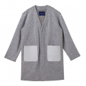 커스텀멜로우() [customellow] [blue label] jacquard suede pocket knit long cardigan_CQTAM17291GYX