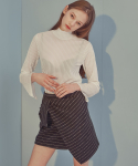 에드센스(ADDSENSE) STRIPE LAP SKIRT_BLACK