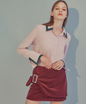에드센스(ADDSENSE) SILVER LING BELT SKIRT_WINE