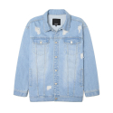 LOOSE FIT LIGHT DESTROYED DENIM JACKET (IK1HSUJ201A)