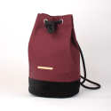 Suede Leather Bucket Bag - Burgundy