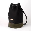 Suede Leather Bucket Bag - Black