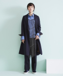 어헤이트(AHEIT) FLARED TROPICAL WOOL COAT DARK NAVY