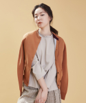 TRI-COLOR WOOL CARDIGAN CARAMEL