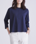 LOOSE FIT COTTON JERSEY TOP DARK NAVY