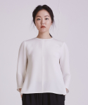 어헤이트(AHEIT) SILK BLOUSE WITH SIDE ZIP PEARL WHITE
