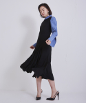 어헤이트(AHEIT) FLOW PLEATED BLACK DRESS