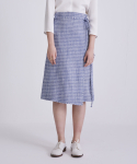 어헤이트(AHEIT) PLACID CHECK BLUE WRAP SKIRT