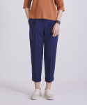 TROPICAL WOOL ROLL UP PLEATED TROUSERS NAVY