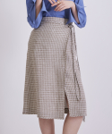 어헤이트(AHEIT) PLACID CHECK KHAKI WRAP SKIRT