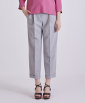 어헤이트(AHEIT) TROPICAL WOOL ROLL UP PLEATED TROUSERS MELANGE GREY