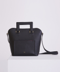 SQUARE LEATHER TOTE BAG BLACK