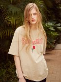 17ss bunch of roses embroidery t-shirts(beige)