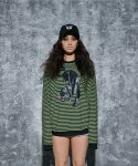 어라운드 80(AROUND 80) BLACK LEOPARD STRIPE SWEAT SHIRTS_GREEN
