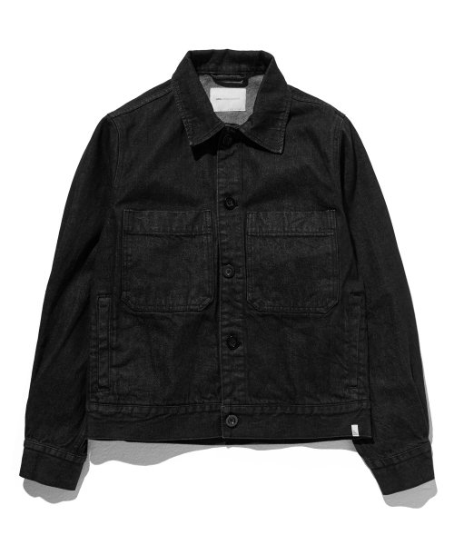 라이풀(LIFUL) DENIM POCKET OVER JACKET washed black