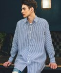 필루미네이트() UNISEX Stripe Long shirt-Blue