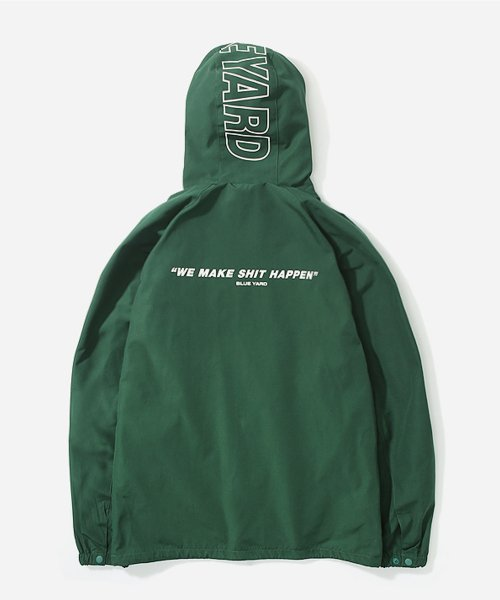 블루야드_HOODIED COACH JACKET GREEN
