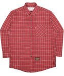 언더에어(UNDERAIR) Oversize Tile Check Shirts - Crimson Red