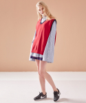 V-NECK KNIT VEST RED