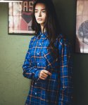 필루미네이트() UNISEX Fresh Check shirt-BLUE