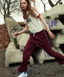 STRING UNISEX WIDE TROUSERS (Wine)
