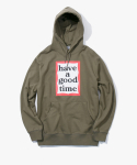 해브 어 굿 타임(HAVE A GOOD TIME) Frame Pullover Hoodie - Olive