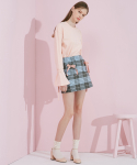 에드센스(ADDSENSE) CHECK RIBBON SKIRT_SKYBLUE