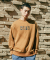 옴펨(HOMFEM) [HMFM]Loose-fit border sweatshirts_Brown