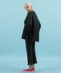side snap straight fit pants(black)