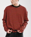 FADIC OVERSIZED STRIPE T-SHIRT RED