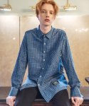 필루미네이트() UNISEX Lush Check shirt-BLUE