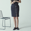 메종드이네스(MAISONDEINES) BOLD BUTTON POINT SKIRT