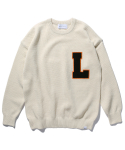 라이풀() COLLEGE LOGO PATCHED KNIT SWEATER ivory