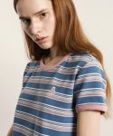 앰퍼샌드(AMPERSAND) MULTI STRIPE T-SHIRTS BLUE