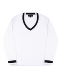 피스워커() Point V neck Knit - White / Over Fit