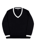 피스워커() Point V Neck Knit - Black / Over Fit