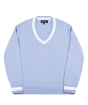 피스워커() Point V neck Knit - Sky Blue / Over Fit