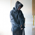 DOUBLE LAYER HOODIE BLACK_W