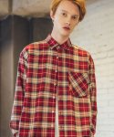 필루미네이트() UNISEX Spring Check Shirt-RED