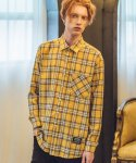 필루미네이트() UNISEX Spring Check Shirt-YELLOW