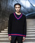 가먼트레이블(GARMENT LABLE) V-neck Oversize Knit - Black