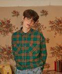 버닝() Double Pocket Check Shirt (Green)