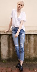 밀리언코르(MILLIONCOR) [Sonia 3069] Medium Destroyed Jeans