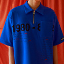 blue zipper polo shirt