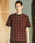 CHECK WOVEN T-SHIRTS RED