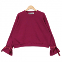 누이슈(NUISSUE) RIBBON SLEEVE CROP MTM (MAGENTA)