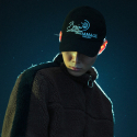 브레인데미지(BRAINDAMAGE) HALF LOGO DAD CAP BLACK