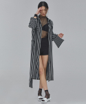 WOMAN STRIPE SHIRT ROBE (BLACK)