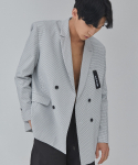 UNISEX DOUBLE CHECK JACKET (WHITE)